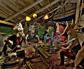 Die wilden Kerle, mit Theatermasken aus Filz von Stefanie Buss. Eine HDRI-Arbeit! Einzige Lichtquelle war die alte Lampe.